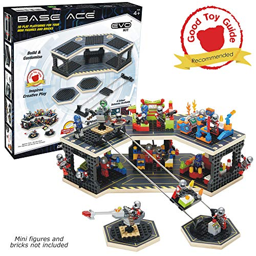 Base Ace 3D Play Platform for Minifigures EVO Kit Construction Toy for Mini Figures, Yellow Lines, Compatible with Major Brick Brands