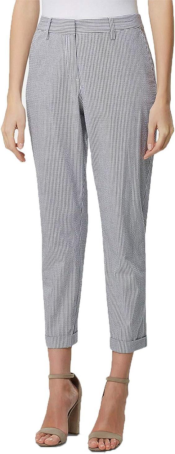 Tahari ASL Cropped Cuffed Seersucker Pants (Blue Seersucker Stripe, 18)
