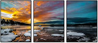 (Winter Lake Snow Ice Morning Clouds Sunrise) Aluminum Alloy Frame Home Decor Poster,Framed Painting,Art Print Picture W16.5 x L12 inches x 3 Pieces Black Frame