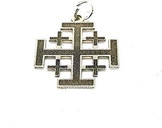 Argent 925 et or plaque sainte Étoile De Bethléem Croix de Jérusalem Pendentif Cadeau