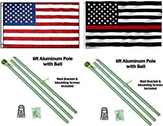 ALBATROS 3 ft x 5 ft USA American with USA Thin Red Line Flag Aluminum Pole Kit Ball Top for Home and Parades, Official Party, All Weather Indoors Outdoors