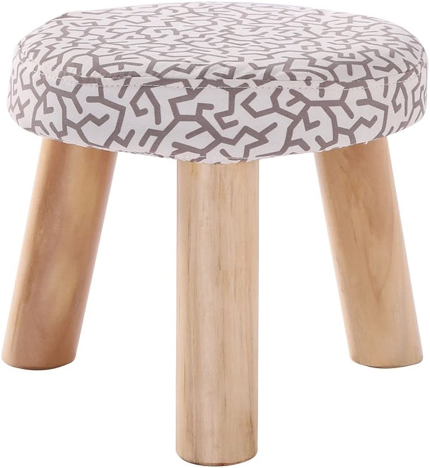 Fashion Solid Wood shoes Stool 3 Legs Round Upholstered Footstool Sofa Low Stool Footrest 28x28x25cm