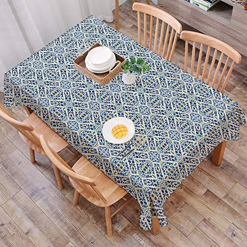 Mantel Antimanchas Rectangular Impermeable,Azulejo Azulejo Portugues etnico Floral Europeo Medieval Estilo Mosaico M,Manteles Mesa Decorativo para Hogar Comedor del Cocina,(140 x 200 cm/55*78 pulgada)