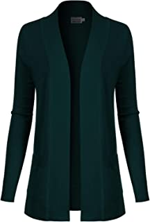 Instar Mode Women's Open Front Long Sleeve Knit Cardigan Sweater with Pocket