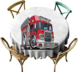 Wendell Joshua Mermaid Tablecloth 60 inch Truck,Cartoon Style Red Fire Truck Emergency Services Safety of The City Transportation,Red Pale Grey Kitchen Dining Room Restaurant Party Decoration