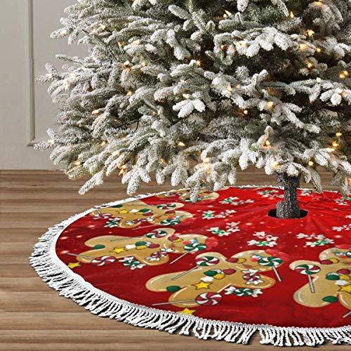 Feliz árbol de Navidad falda para fiestas de Navidad, suministros de fiesta de árbol grande, decoración de Halloween adornos palmera negro jengibre Navidad dulce caramelo Lollipop