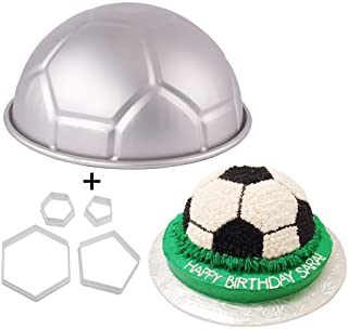 9 Inch 3D Full-size Soccer Ball Aluminum Baking Pan with 4Pcs Hexagon Pentagon Cookie Cutter, Football Shape Metal Cake Pa...