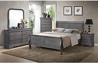 GTU Furniture Classic Louis Philippe Styling Grey Louis Philippe 5Pc King Bedroom Set(K/D/M/N/C)
