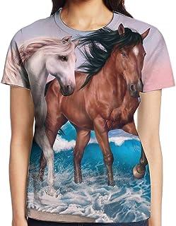 3D プリント レディース 半袖 Tシャツ ホワイト褐色馬 クルー ネック おしゃれ シャツ トップス