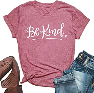 ALLTB Be Kind Shirts Women's Anti-Bullying Short Sleeve Inspirational Graphic Tees Summer Tops
