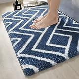 DEXI Alfombra de baño ultra suave, antideslizante, absorbente de agua, alfombra de baño de microfibra, lavable a máquina, azul marino, 40 x 60 cm