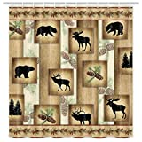 MERCHR Rustic Decor Fabric Shower Curtain, Cute Bear Deer and Forest Design, Country Style Wildlife Animal Art Vintage Farmhouse Lodge Cabin Cloth Shower Curtains Bathroom Accessories, 71X71 Inches