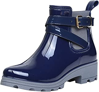 Womens Short Rain Boots Waterproof Non Slip Ankle Martin Chelsea Shoes