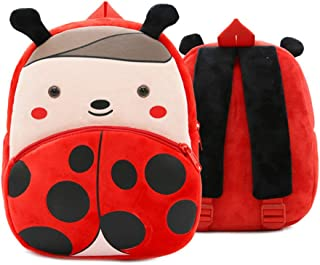 3D Cute Cartoon Little Plush Baby Backpack Baby Toy Bag(Ladybug)