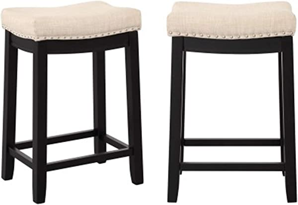 Merax Counter Height Stools For Bar And Kitchen Barstools Set Of 2 Backless Linen Counter Stools With Nail Head Studs Dining Chairs Counter Barstools Black