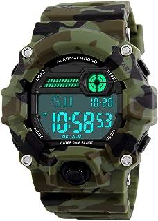 Venhoo Digital Kids Watches Outdoor Sport Waterproof Electronic EL-Light with Alarm Stopwatch Luminous Casual Military Wrist Watch Gift for Kids Boys Girls