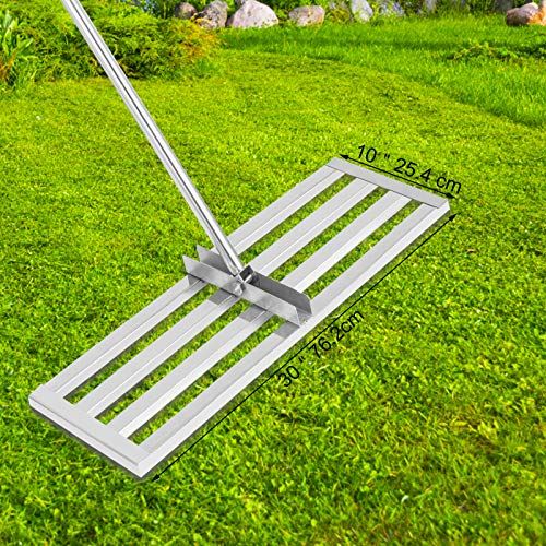 VEVOR Lawn Leveler Tool 30 x 10 in, Lawn Leveling Rake with 77 in Long Handle, Soil Leveling Tool Stainless Steel, Leveling Soil Dirt or Sand Ground Surface for Yard Garden Ground and Golf Lawn