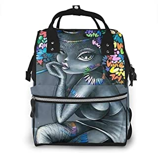 African Afro Women Colorful Hair Multi-Function Travel Backpack Nappy Bag,Fashion Mummy Bag