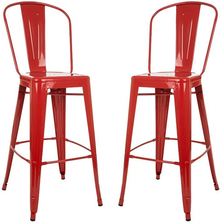 Glitzhome 1005002999 Red Metal Bar Stool (2 Set)