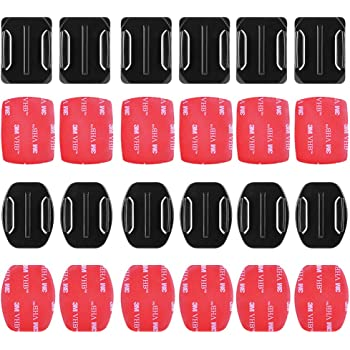 Sticky Helmet Mounts Adhesive for GoPro Tape Kit by HOLACA, 6pcs Flat +6pcs Curved 3M Adhesive Mounts Accessories for GOPRO Hero 3 4 5 6 7 8 New GoPro 9+ Hero Session