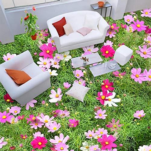Papel tapiz de azulejos de piso 3d flores pastorales planta foto pinturas murales sala de estar dormitorio pvc impermeable desgaste vinilo papel de pared 3D 250x175cm