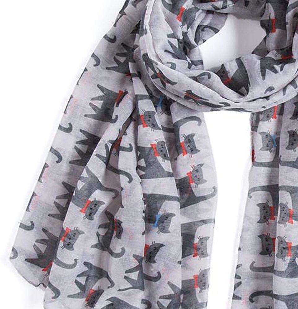Bufandas para las mujeres Animales Gato modelo de la impresi/ón larga bufanda Ligera Beach Wraps mant/ón suaves bufandas para se/ñoras de las muchachas