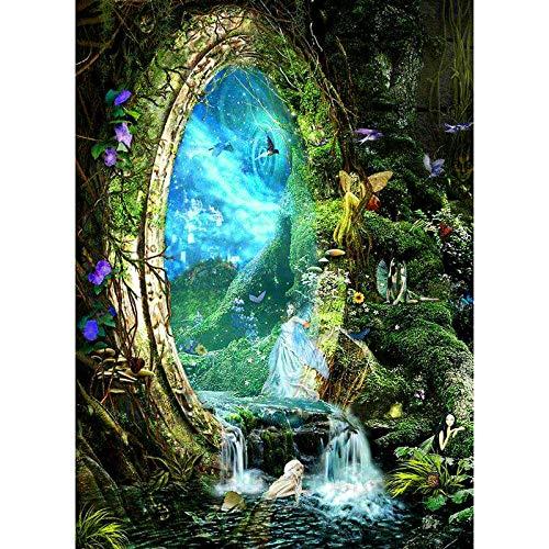 FVeng LIN Carpet Bordado de Diamantes con Paisaje Pintura de Diamantes Imagen de fantasía fantasía Mosaico de Diamantes Completo decoración de Elfo decoración de Pared 16x20 Inch 🔥