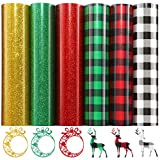 12 Sheet Christmas Buffalo Plaid Heat Transfer Vinyl HTV and Glitter HTV Iron on Vinyl for DIY Iron on Christmas Xmas Fabrics T-Shirts,12 x 10 Inch (Assorted Color)