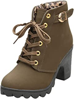 ❤️ Sunbona Women Boots Ankle Bootie Ladies Winter High Heel Lace Up Ankle Boots Ladies Buckle Platform Shoes Western Boots (US:7, Army Green)