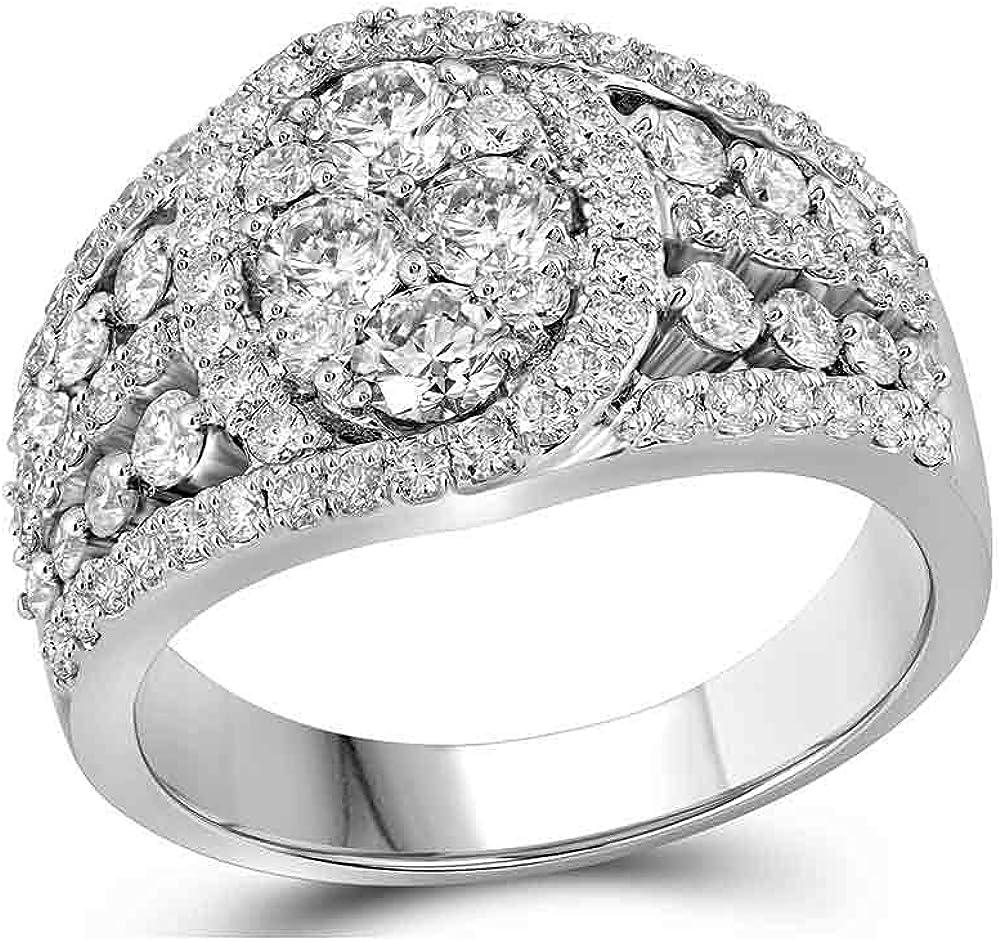 OFFer The Diamond [Alternative dealer] Deal 10kt White Clust Oval Gold Womens Round