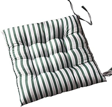 "Shineweb 15.75"" x 15.75"" Soft Stripe Chair Seat Home Office Tie on Seat Cushion Car Student Chair Pad Pillow Mat Home Decor Green"