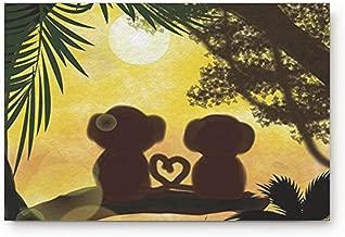 FAMILYDECOR Cute Couple Monkey Romantic Fabric Door Mat Rug Indoor/Outdoor/Front Door/Shower Bathroom Doormat, Non-Slip Doormats, 18-Inch by 30-Inch