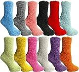 Yacht & Smith Women Fuzzy Socks Crew Socks, Warm Butter Soft (9-11) (12 Pairs Solid Fuzzy D)