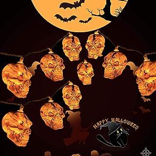 سلسلة مصابيح KAILEDI للهالوين، تعمل بالبطارية، مصابيح جمجمة للهالووين، داخلي، خارجي، حديقة، حفلة، ديكورات منزلية، 3.02 متر...