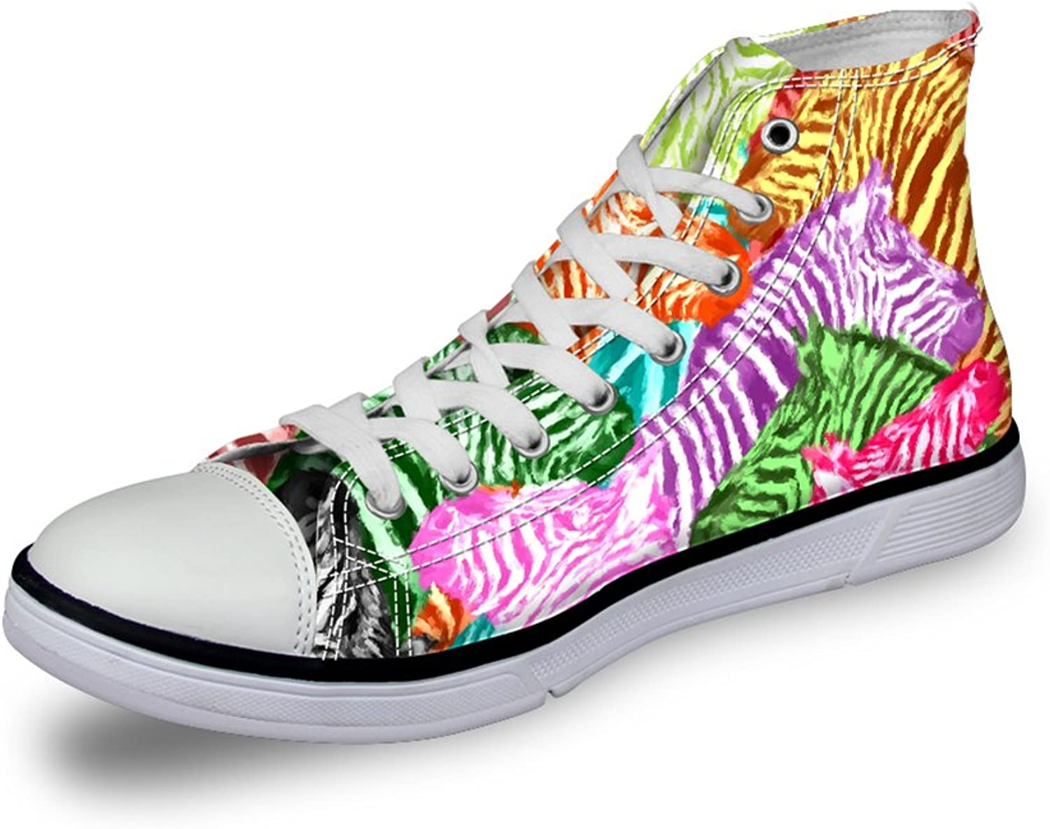 Chaqlin Women High-Top Canvas shoes Tropical Floral Design Lace-Up Ankle Sneakers