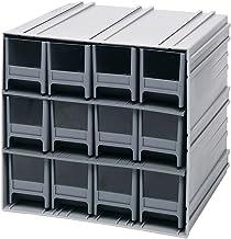 خزانة تخزين كوانتم QIC-122GY رمادية متشابكة مع 12 درج رمادي، 29.9 سم في 29.9 سم في 28.9 سم