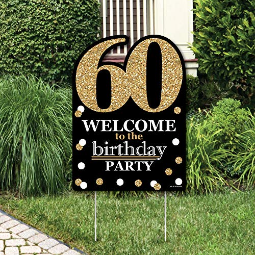 Big Dot of Happiness Adult 60th Birthday - Gold - Party Decorations - Birthday Party Welcome Yard Sign