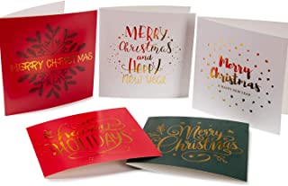"""Pack of 20 Christmas Cards with Envelopes & Stickers. Assorted 5"""" x 5"""" Gold Foil Holiday Greeting Cards Perfect for Xmas Gifts and to Celebrate the Winter Season."""