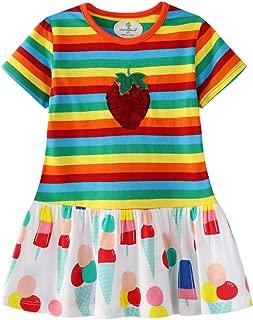 Miss Bei Little Girls Cotton Casual T-Shirt Dresses Cartoon Summer Short Sleeve Skirt Dresses Toddler Girl Clothes
