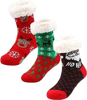 3 Pairs Girls Boys Slipper Socks Kids Winter Christmas Socks, Sherpa-lined Fuzzy Grips Socks for Boys for Girls Age 4-8 Years
