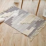 GXMGYT Tapis de Sol Coton Chambre à Coucher à la Maison, Pas de décoloration, Conception Gland pour Le Salon Avant étude-120cm * 180cm_Light Grey