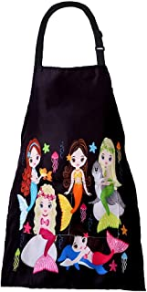 MissOwl Adjustable Apron with Pockets Bib for Kids Cooking Painting Mermaid(S)