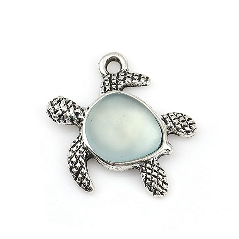 Turtle Charm Pendants with Sea Glass by JGFinds, 5 Pack, Small Silver Tone 7/8 inch (Light Blue)