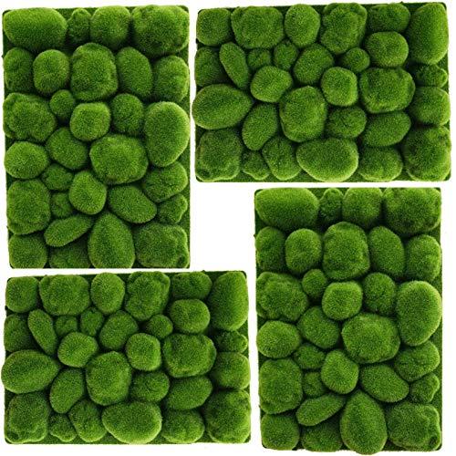4 piezas 50x35cm Alfombra de hierba de musgo con forma de piedra...