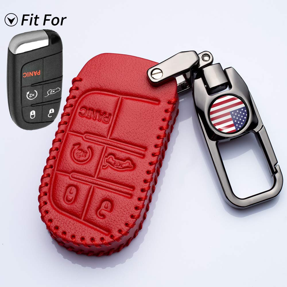TANGSEN Smart Key Fob Case for Dodge RAM Jeep Cherokee 3 4 5 Button Keyless Entry Remote Personalized Protective Cover Plastic Carbon Fiber Pattern Black Silicone