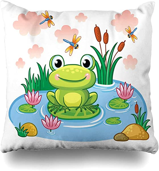 AlliuCoo Throw Pillow Covers Color Blue Frog Sits On Leaf Pond Wildlife Smile Baby Lake Clouds Cute Funny Design Drawing Home Decor Zippered Cushion Case Square Size 20 X20 Sofa Pillowcase