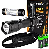 EdisonBright Fenix TK16 1000 Lumens Cree LED Tactical Flashlight Package with Genuine Fenix ARB-L2M 18650 Li-ion Rechargeable Battery and 2X CR123A Lithium Batteries