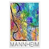 artboxONE Poster 30x20 cm Städte Retro Map of Mannheim