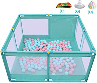 H aetn Playpens Portable Baby with Balls and Mat Pad  Indoor Outdoor Child Children Folded Play Yards Toddlers Fence  Side Panel Green