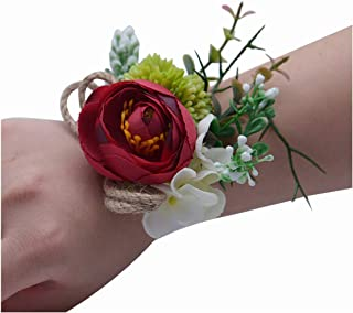 Bridesmaid Hand Flowers Women's Wedding Bracelet Bridal Prom Wrist Corsage Blush Silk Flowers Corsage,Red